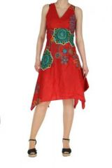 Robe originale florale rouge Lisandre 269989