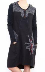 Robe originale grise avec une capuche Noumina 302655