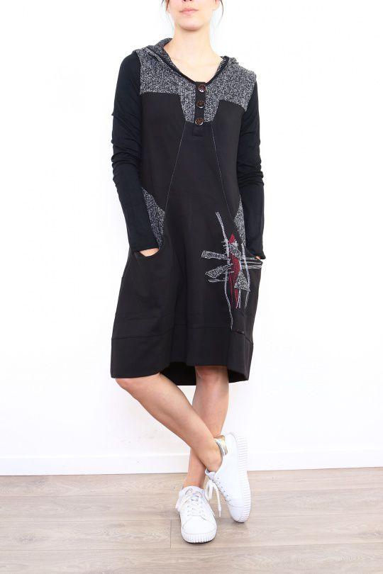 Robe originale grise avec une capuche Noumina 302656