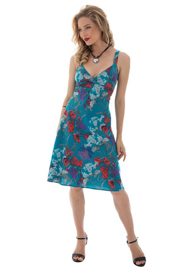 af8b97b022f Robe Originale mi-longue à bretelles Evasée et Fleurie Charline Bleue 292406