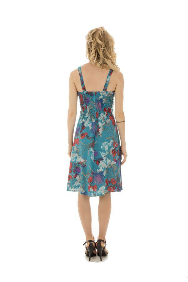e7bd3f80e0d Robe Originale mi-longue à bretelles Evasée et Fleurie Charline Bleue 292407