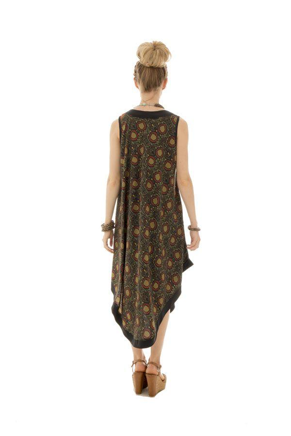 robe originale mi-longue avec col v et coupe asymétrique Vána 289844