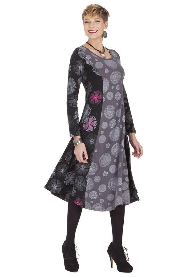 Robe Originale mi-longue Evasée esprit Bohème Krisna Grise 285316