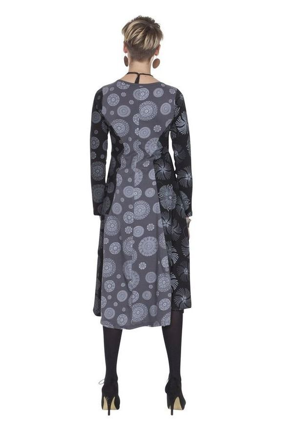Robe Originale mi-longue Evasée esprit Bohème Krisna Grise 285317