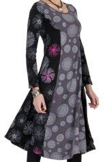 Robe Originale mi-longue Evasée esprit Bohème Krisna Grise 286819