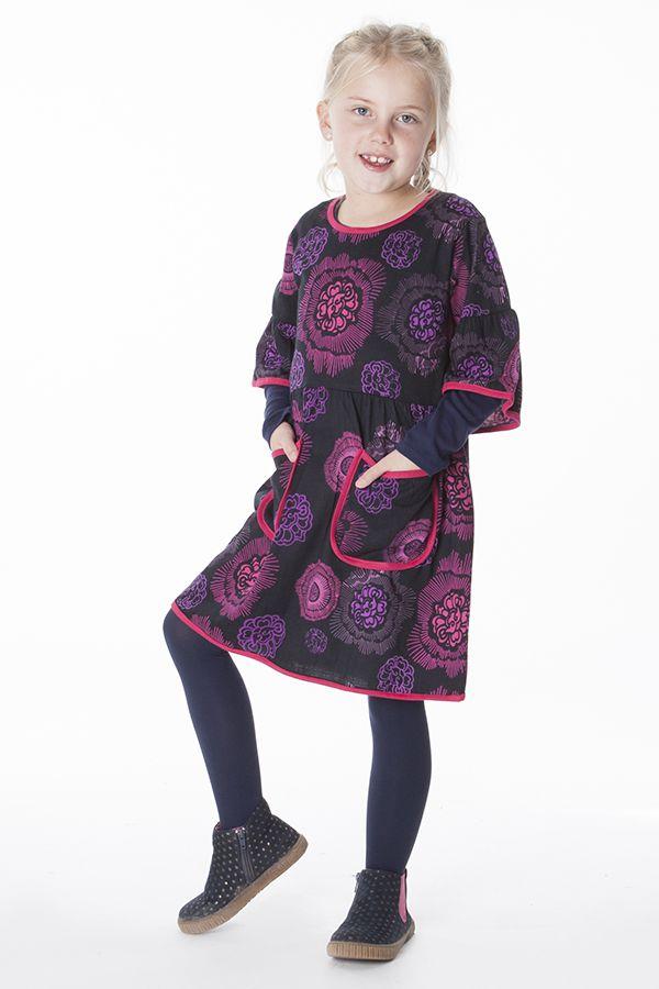 Robe originale noire et rose pour fille 287246