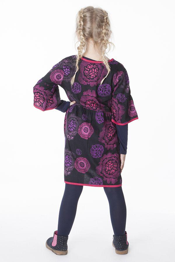 Robe originale noire et rose pour fille 287247