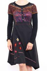 Robe originale pour femme à manches longues bordeaux Fany 302683