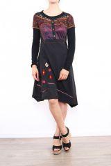 Robe originale pour femme à manches longues bordeaux Fany 302684