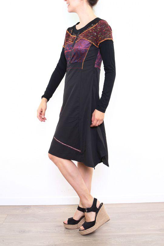 Robe originale pour femme à manches longues bordeaux Fany 302685