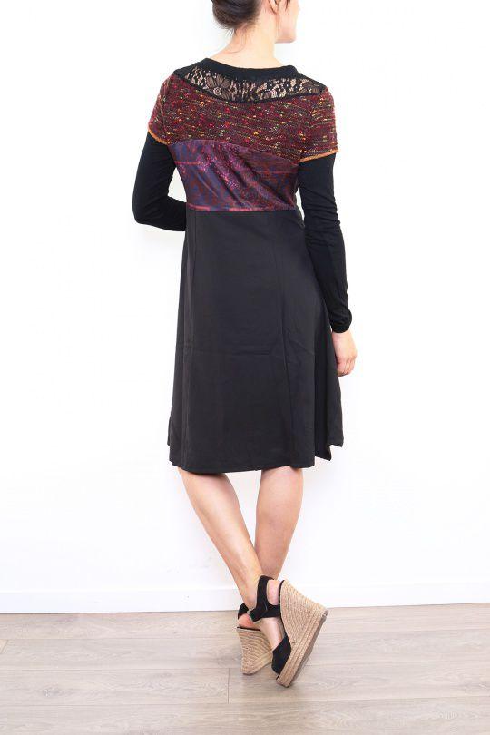 Robe originale pour femme à manches longues bordeaux Fany 302686