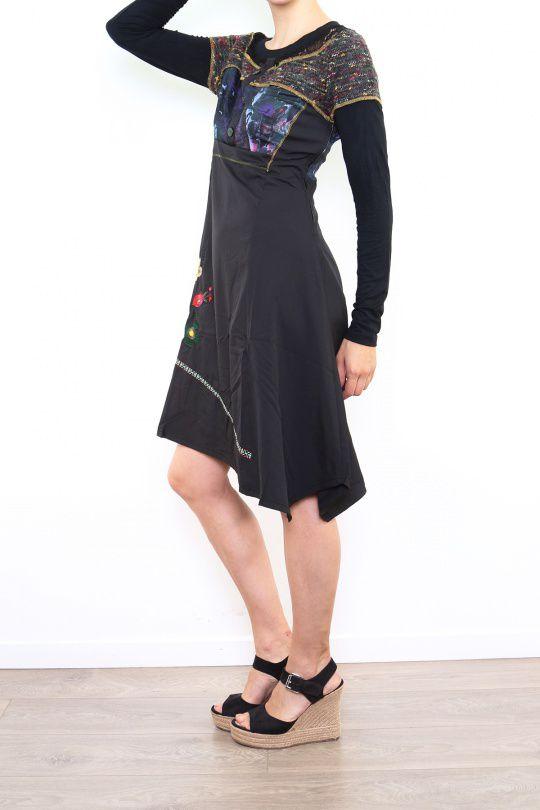 Robe originale pour femme à manches longues noir Fany 302681