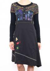 Robe originale pour femme à manches longues noire Fany 302679