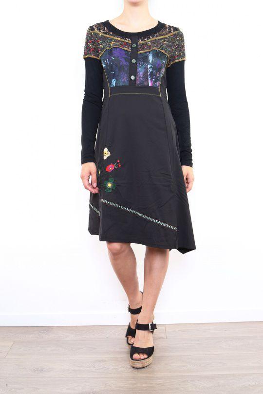 Robe originale pour femme à manches longues noire Fany 302680
