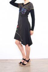 Robe originale pour femme à manches longues noire Fany 302681