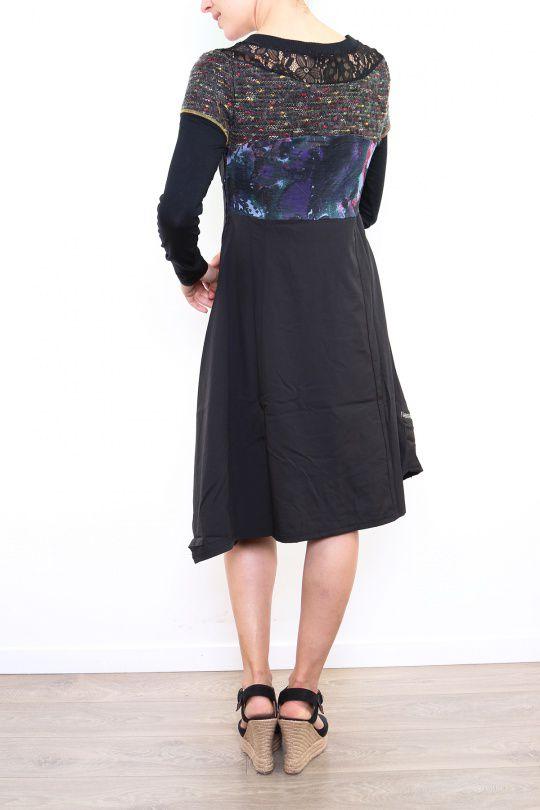 Robe originale pour femme à manches longues noire Fany 302682