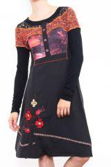 Robe originale pour femme à manches orange longues 302675