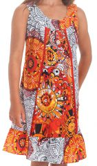 Robe Originale pour fille au col Collier Neptune Blanche et Orange 280176