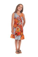 Robe Originale pour fille au col Collier Neptune Blanche et Orange 280177