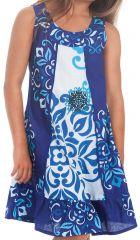 Robe Originale pour fille Blanche et Bleue au col Collier Neptune 280174