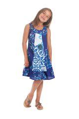 Robe Originale pour fille Blanche et Bleue au col Collier Neptune 280175