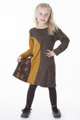 Robe originale pour fille de couleur marron et moutarde 286374