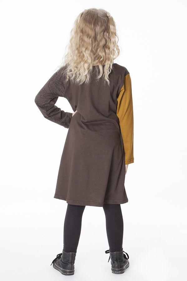 Robe originale pour fille de couleur marron et moutarde 286375