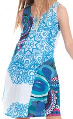 Robe Originale pour Fille et Ethnique Rolly Blanche et Bleue 280160