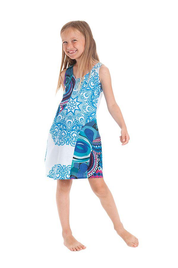 Robe Originale pour Fille et Ethnique Rolly Blanche et Bleue 280161