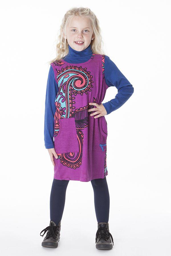 Robe originale pour petite fille de couleur fushia 287402