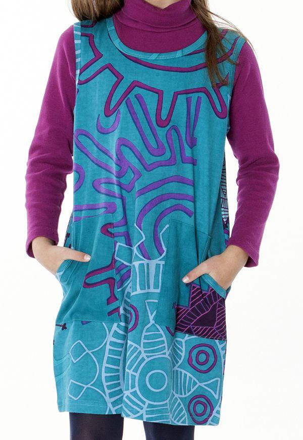 633e6db140b Robe originale pour petite fille de couleur turquoise 287404. Loading zoom