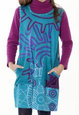 Robe originale pour petite fille de couleur turquoise 287404