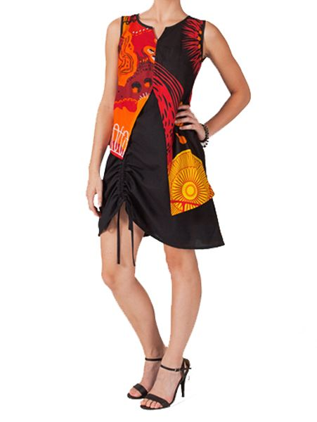 Robe orignale et colorée noire et rouge Elisa 267558