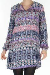 Robe ou Tunique à manches longues Originale et Colorée Kaiza Bleue 278648