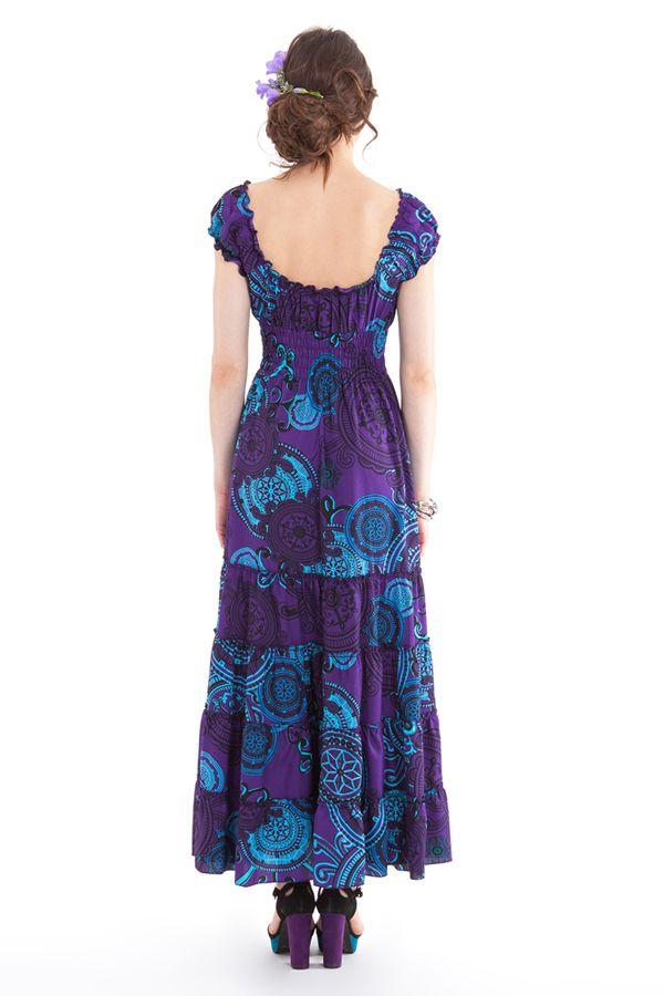 robe longue d ete violette originale et coloree esmalita. Black Bedroom Furniture Sets. Home Design Ideas