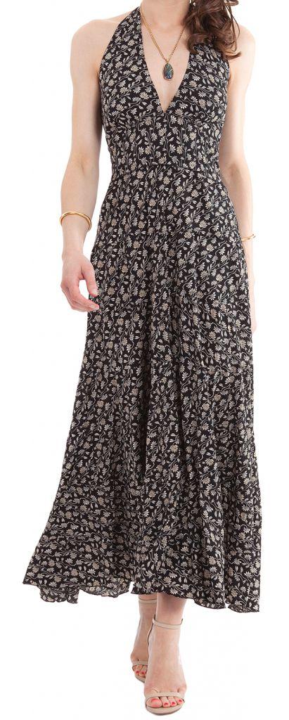 robe longue a tour de cou coloree et originale lasmy noire. Black Bedroom Furniture Sets. Home Design Ideas
