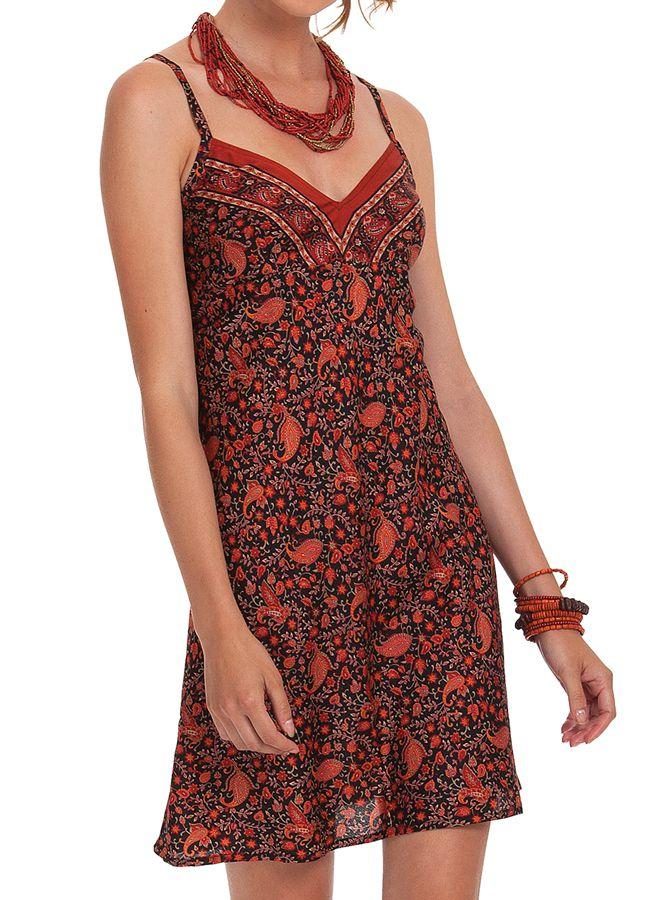robe courte d ete rouge a fines bretelles ethnique et. Black Bedroom Furniture Sets. Home Design Ideas