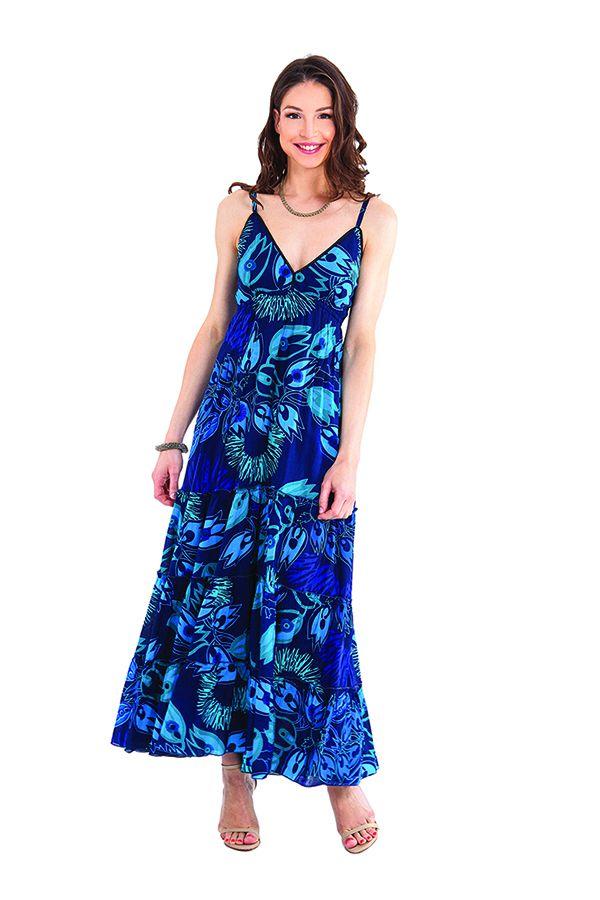 robe longue d ete anna a fines bretelles originale et coloree bleue. Black Bedroom Furniture Sets. Home Design Ideas