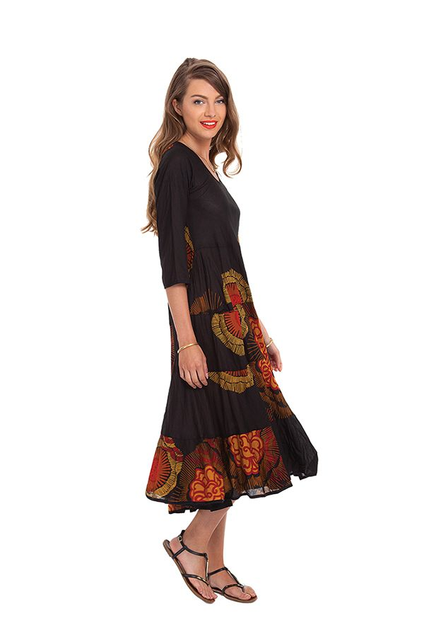 robe mi longue pour l ete noire ethnique et imprimee malika. Black Bedroom Furniture Sets. Home Design Ideas