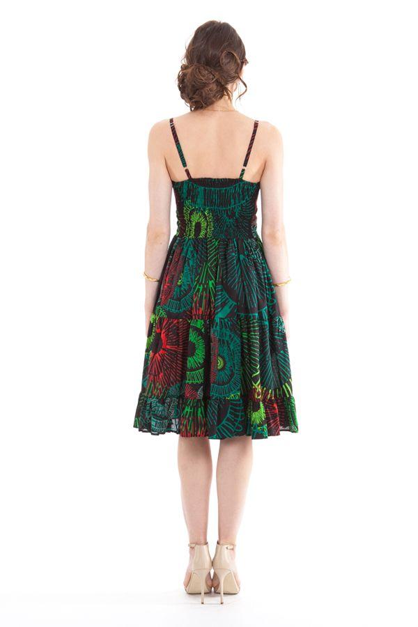 robe d ete a volants carmina imprimee et originale noire et verte. Black Bedroom Furniture Sets. Home Design Ideas