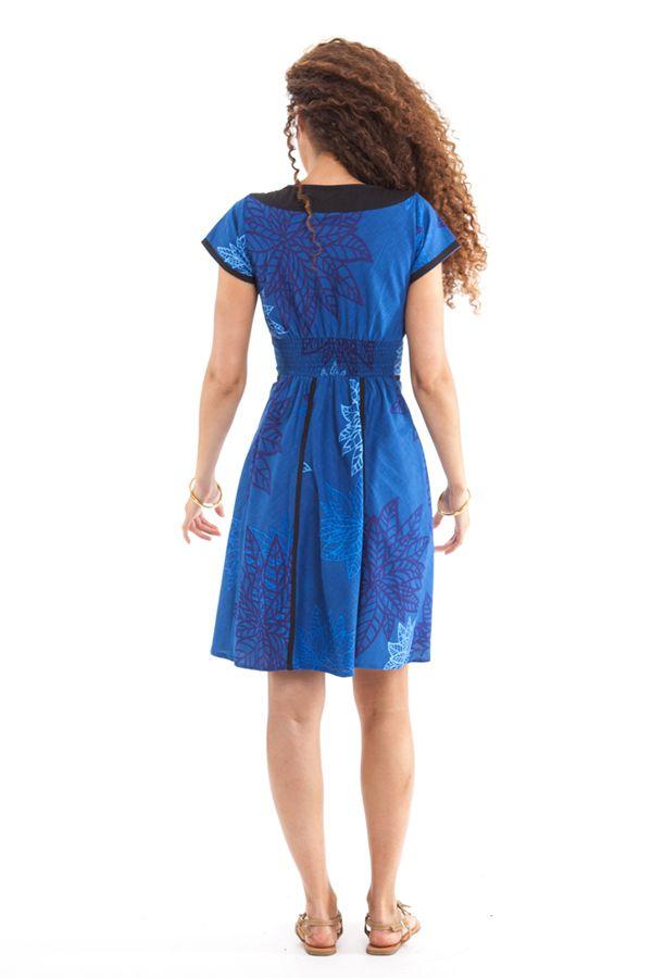 robe courte d ete bleue originale et ethnique catalia. Black Bedroom Furniture Sets. Home Design Ideas