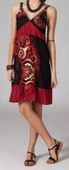 Robe pas chère ethnique noire et rouge Cathiana 269822