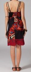 Robe pas chère ethnique noire et rouge Cathiana 269823