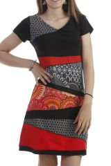 Robe patchworks feminine à manches courtes noire Monna 296591