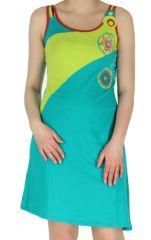 Robe Pétrole sans manches Asymétrique et Colorée Naomi Bicolore 283280
