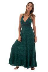 robe polyestère ultra féminine avec un joli col pigeonnant kaki robe polyestère ulrobe avec un lien à nouer féminine et col pige 289693
