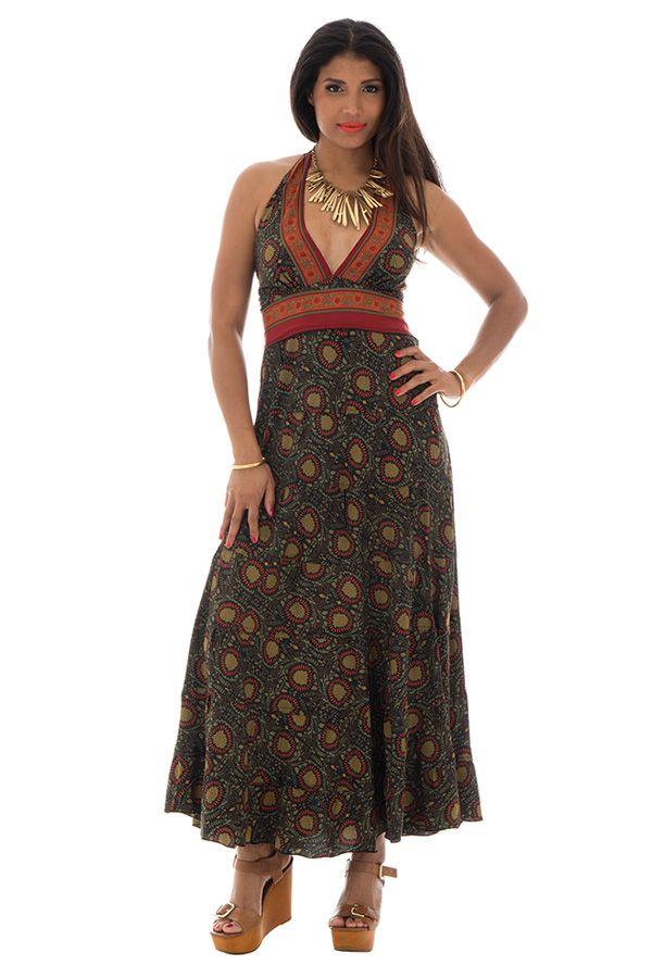 robe polyestère ultra féminine avec un joli col pigeonnant kaki Valkirye 289687