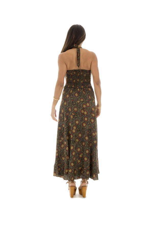 robe polyestère ultra féminine avec un joli col pigeonnant kaki Valkirye 289688