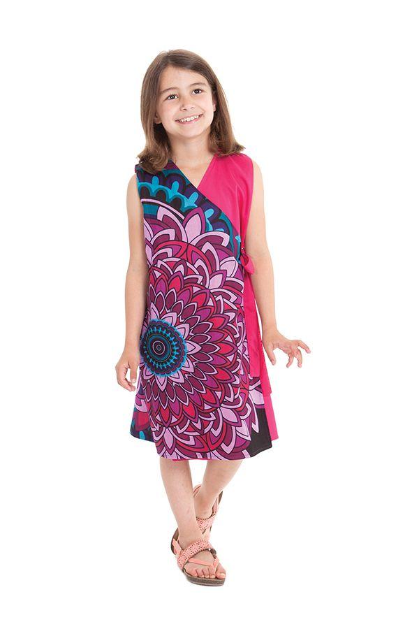 Robe portefeuille d'été Rose pour Fille Ethnique Nanny 280402