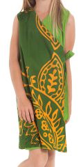 Robe portefeuille d'été Verte pour Fille Ethnique Nanny 280404